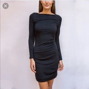 DVF black long sleeve ruched dress